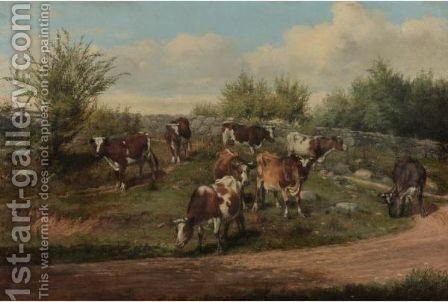 A Country Road--Coming Home by Arthur Fitzwilliam Tait - Reproduction Oil Painting