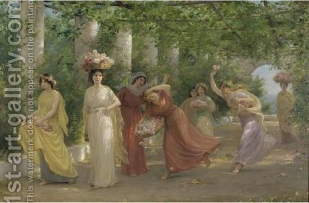 Maidens And Roses by Jennie Augusta Brownscombe - Reproduction Oil Painting