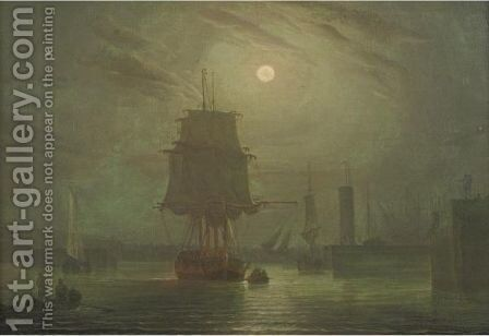 Moonlight by (after) Robert Salmon - Reproduction Oil Painting