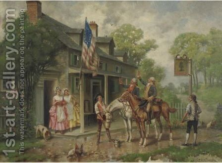 Saluting The Flag by Edward Percy Moran - Reproduction Oil Painting