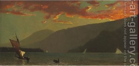 Sunset On The Hudson by Henry Wolcott Boss - Reproduction Oil Painting