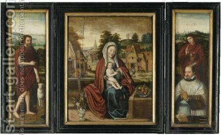 A Triptych - Central Panel The Madonna And Child In A Landscape With A Bunch Of Grapes - Left Wing Saint John The Baptist - Right Wing Saint John The Evangelist With A Donorout - Side Left Panel Saint Jerome - Outside Right Panel Saint Nicolas Of Bari by (after) Bruges - Reproduction Oil Painting