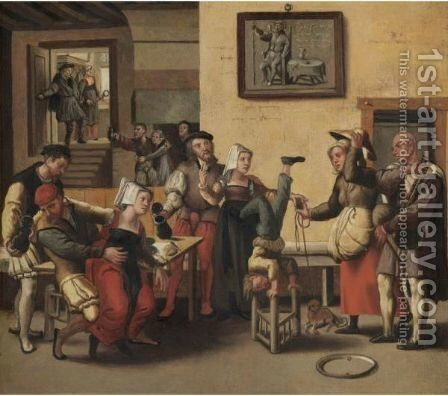 An Interior With An Acrobat, Figures Drinking And Making Music Together With Children Playing by (after) The Brunswick Monogrammist - Reproduction Oil Painting