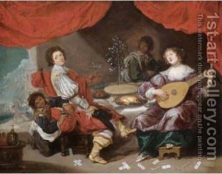 An Interior With A Lady And Gentleman Making Music And Feasting by Simon de Vos - Reproduction Oil Painting