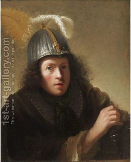 Portrait Of A Young Man, Dressed As A Soldier by (after) Harmenszoon Van Rijn Rembrandt - Reproduction Oil Painting