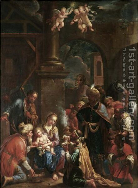 The Adoration Of The Magi by Johann Heiss - Reproduction Oil Painting