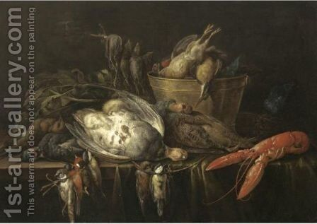 Still Life With A Lobster, Partridges, Songbirds by (after) Adriaen Van Utrecht - Reproduction Oil Painting