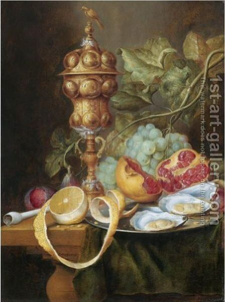 Still Life With A Gilt Pokal, A Bunch Of Grapes, A Plum, A Fig, A Partly Peeled Lemon by (after) Jan Davidsz. De Heem - Reproduction Oil Painting