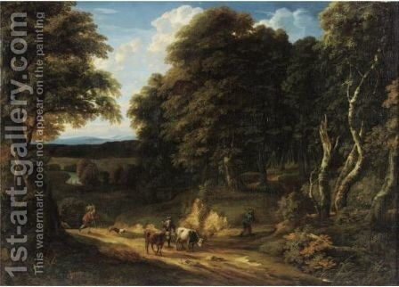 A Wooded Landscape With A Drover And Two Heifers On A Road, Two Anglers On The Bank Of A River Beyond by Cornelis Huysmans - Reproduction Oil Painting