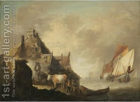 A Coastal Scene With Fishing Vessels In Stormy Seas, Figures With Cattle Before A House On The Shore by Jan van Os - Reproduction Oil Painting