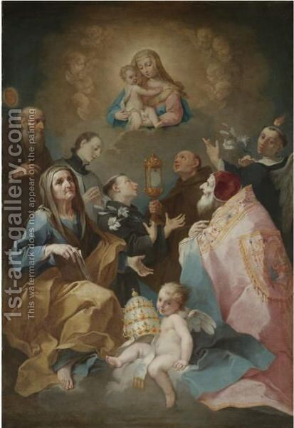 Madonna And Child In Glory With Saints by Giovanni Battista Tagliasacchi - Reproduction Oil Painting