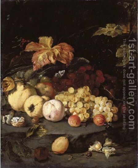 Still Life With Summer Fruits Including Apples, Grapes, A Peach, A Plum, Blackberries, Hazelnuts, Walnuts And Other Objects by Jan Weenix - Reproduction Oil Painting