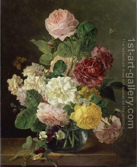 A Still Life Of Flowers In A Glass Vase On A Marble Ledge by (after) Jan Frans Van Dael - Reproduction Oil Painting