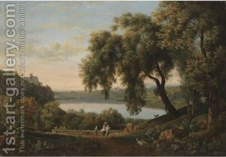 A View Of The Castel Gandolfo On Lake Albano by Elisabet Charlotta Kaschanoff (Nee Karsten) - Reproduction Oil Painting