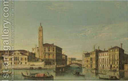 Venice, A View Of San Geremia And The Entrance To The Cannaregio by Apollonio Domenichini - Reproduction Oil Painting