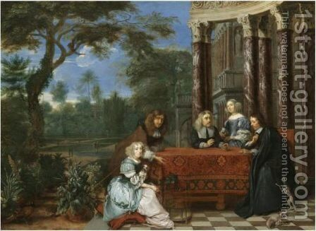A Family Seated At A Table In An Elegant Garden Exterior by Gonzales Coques - Reproduction Oil Painting