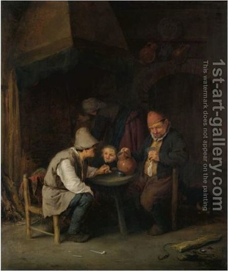 A Peasant Family In An Interior by Adriaen Jansz. Van Ostade - Reproduction Oil Painting