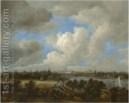 Amsterdam A Distant View From The South Along The West Bank Of The River Amstel Towards The City by Jacob Van Ruisdael - Reproduction Oil Painting