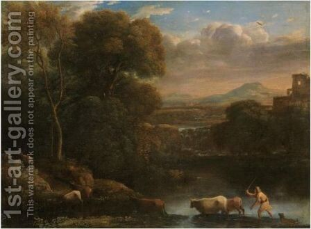An Italianate Landscape With A Drover And His Dog Driving His Cattle Across A Ford, A Waterfall Beyond by Claude Lorrain (Gellee) - Reproduction Oil Painting