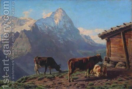 Mountain Landscape With Cows, 1883 by Albert Lugardon - Reproduction Oil Painting