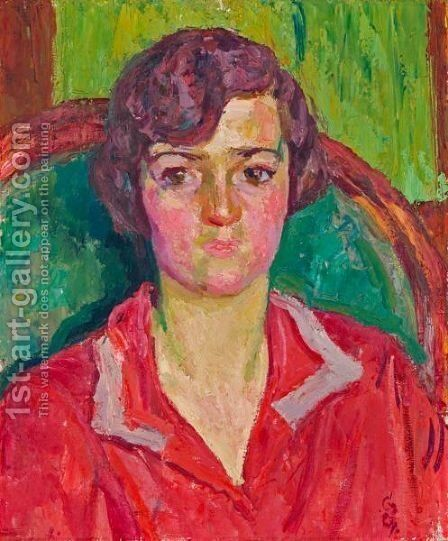 Portrait Of D.G. (Dora Balsiger), 1927 by Giovanni Giacometti - Reproduction Oil Painting
