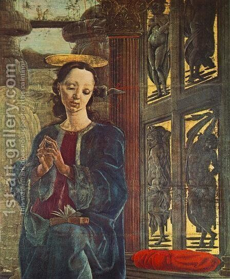 Annunciation (detail) 1469 by Cosme Tura - Reproduction Oil Painting