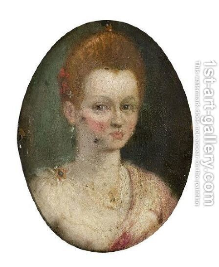 Portrait Of A Courtesan, Head And Shoulders, Wearing A White Chemise And A Pink Mantle by (after) Lavinia Fontana - Reproduction Oil Painting