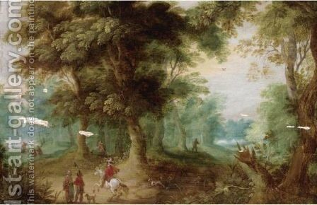 A Wooded Landscape With Huntsmen In The Foreground by (after) Jasper Van Der Laanen - Reproduction Oil Painting