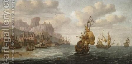 Dutch And English Shipping Off A Mediterranean Port by Jacob Van Der Croos - Reproduction Oil Painting