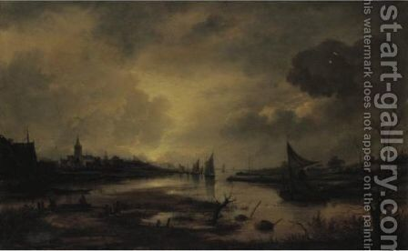A Nocturnal Estuary Scene By Moonlight by (after) Aert Van Der Neer - Reproduction Oil Painting