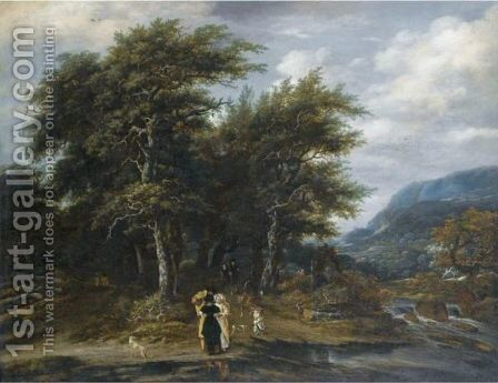 A Wooded Landscape With An Elegant Family And Their Hounds Beside A River by (after) Jacob Salomonsz. Ruysdael - Reproduction Oil Painting