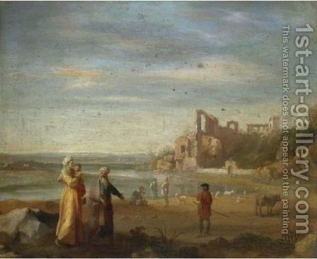 An Italianate Landscape With Abraham, Hagar And Ishmael by (after) Cornelis Van Poelenburgh - Reproduction Oil Painting