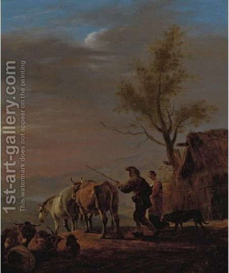 A Sunset Scene With A Drover And His Wife Driving Out Their Animals by (after) Johannes Lingelbach - Reproduction Oil Painting