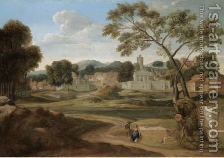 A Classical River Landscape With Figures Conversing In The Foreground With A Town Beyond by (after) Nicolas Poussin - Reproduction Oil Painting