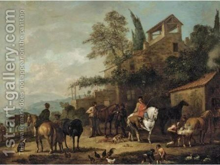 Cavaliers At A Blacksmith's Forge With A Horse Being Shod by Jan Peeter Verdussen - Reproduction Oil Painting