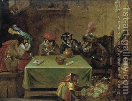 A Singerie With Monkeys Smoking At A Table And A Jester Below by (after)  David The Younger Teniers - Reproduction Oil Painting