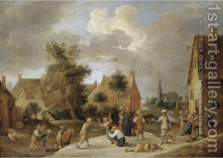 Soldiers Sacking A Village by (after)  David The Younger Teniers - Reproduction Oil Painting