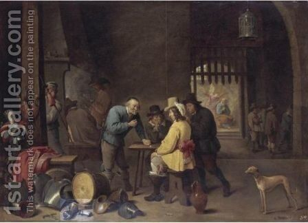 A Guardroom Interior With Soldiers Playing Dice, The Liberation Of Saint Peter Beyond by (after)  David The Younger Teniers - Reproduction Oil Painting