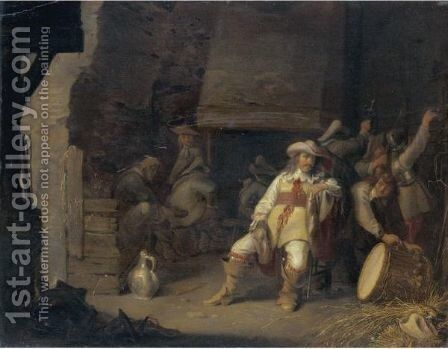 A Guardroom Interior With An Officer Smoking A Pipe Soldiers Sitting Before A Fireplace by Anthonie Palamedesz. (Stevaerts, Stevens) - Reproduction Oil Painting