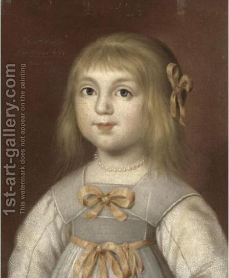 Portrait Of A Young Girl, Head And Shoulders, Said To Be Princess Mary (1631-1660) by Dutch School - Reproduction Oil Painting