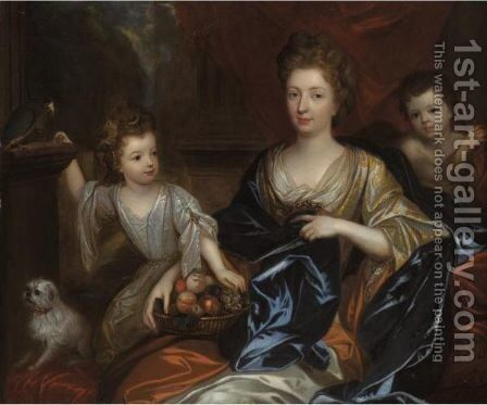 A Family Portrait Of A Mother With Her Daughter And A Young Child Portrayed As A Cherub by (after) Godfried Schalcken - Reproduction Oil Painting