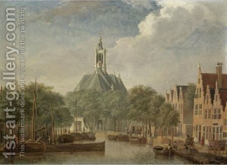 The Hague, A View Of The Nieuwe Kerk by (after) Jan Ten Compe - Reproduction Oil Painting