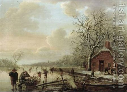 A Frozen River Landscape With Skaters And Men Collecting Firewood by (after) Andries Vermeulen - Reproduction Oil Painting