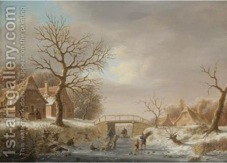 A Winter Landscape With Skaters On A Frozen River Running Through A Small Hamlet by (after) Andries Vermeulen - Reproduction Oil Painting