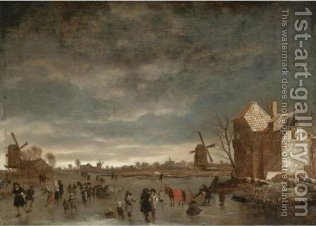 A Winter Landscape With Skaters On A Frozen Lake by (after) Hendrick Dubbels - Reproduction Oil Painting