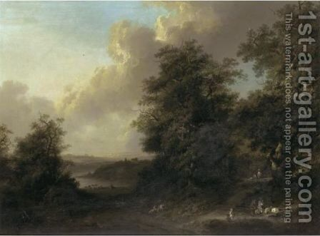 An Extensive Wooded River Landscape With Travellers Praying At A Roadside Shrine by Johann Heinrich Wuest - Reproduction Oil Painting
