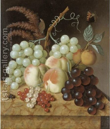 Still Life With Peaches, Apricots, Grapes, Berries, A Fly And A Butterfly On A Marble Ledge by (after) Jan Evert Morel - Reproduction Oil Painting