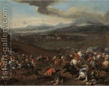 A Cavalry Skirmish On The Hills Above A Walled Town by (after) Jacques (Le Bourguignon) Courtois - Reproduction Oil Painting