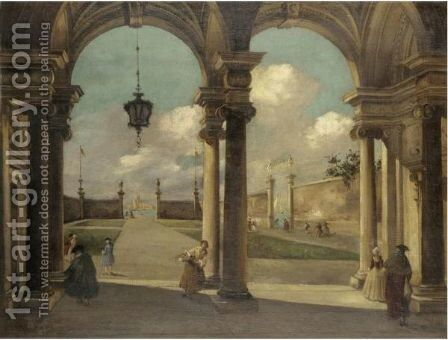 A Venetian Capriccio View Of A Garden With Elegant Figures Under A Portico by (after) (Giovanni Antonio Canal) Canaletto - Reproduction Oil Painting
