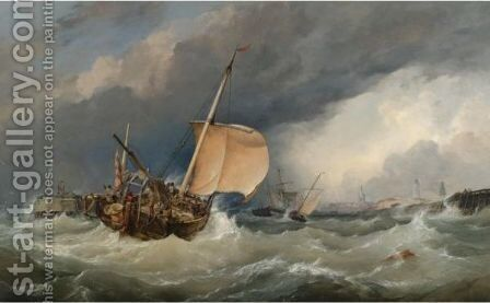 French Lugger Running Into Calais by Edward William Cooke - Reproduction Oil Painting